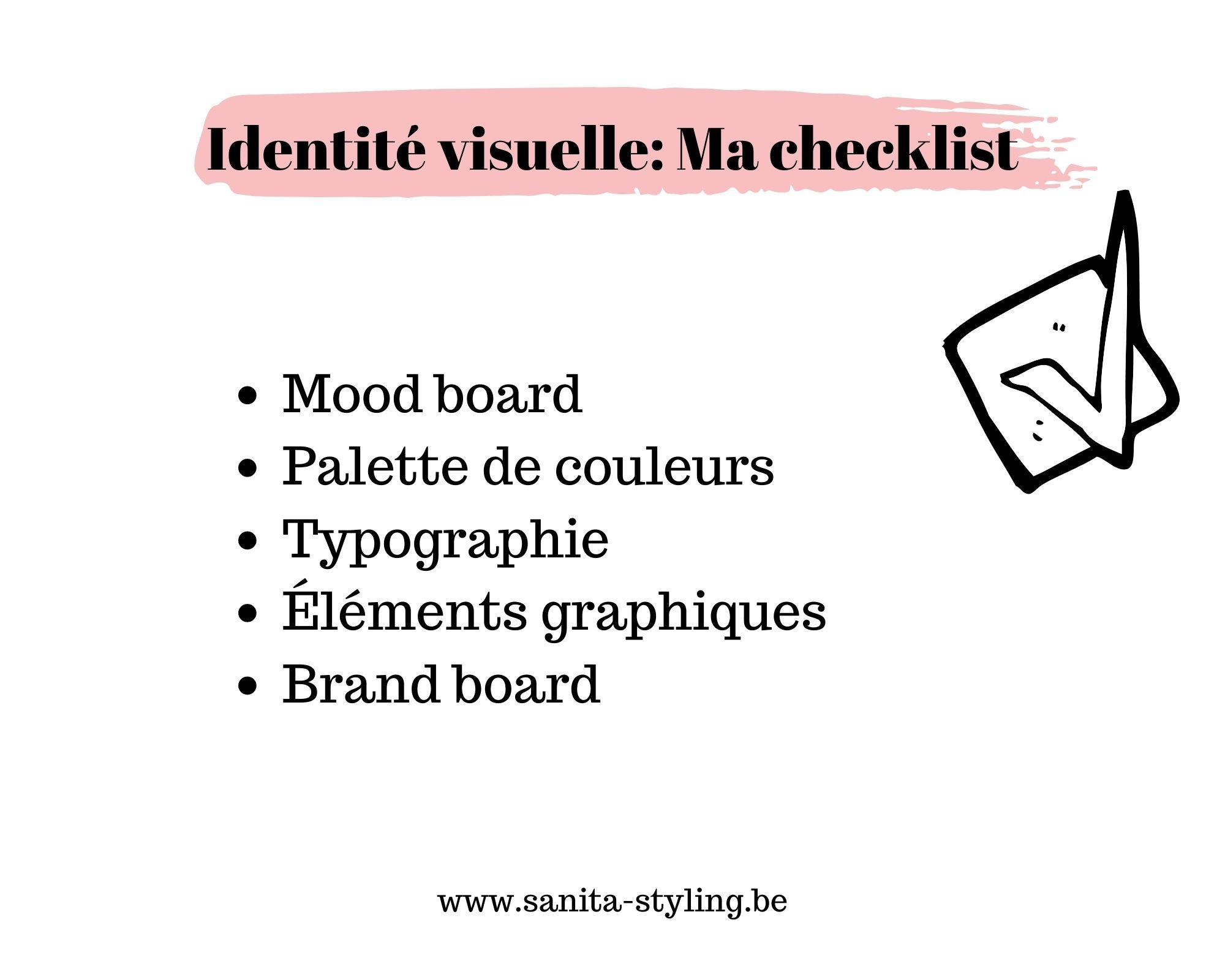 identité visuelle checklist des étapes - sanita styling